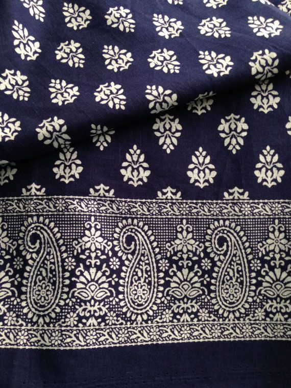 Pure Cotton Paisley Border Indian Fabric Block by FibersToFabric