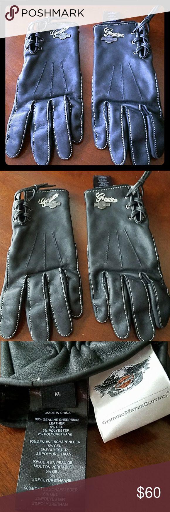 Womens black leather gloves medium - Harley Davidson Gloves Womens