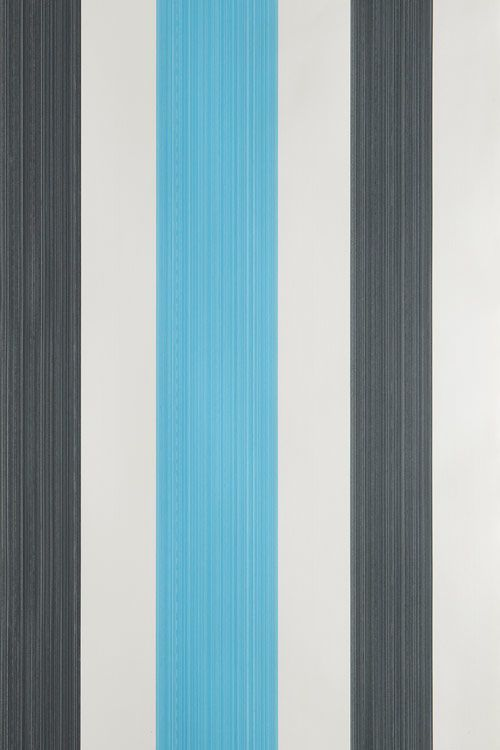 A Wide Stripe Wallpaper With With Varying Widths In An Elegant Strie Effect  Printed In Charcoal And Blue On White.