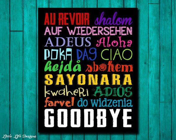 Goodbye Sign. Goodbyes in Different Languages by LittleLifeDesigns on Etsy