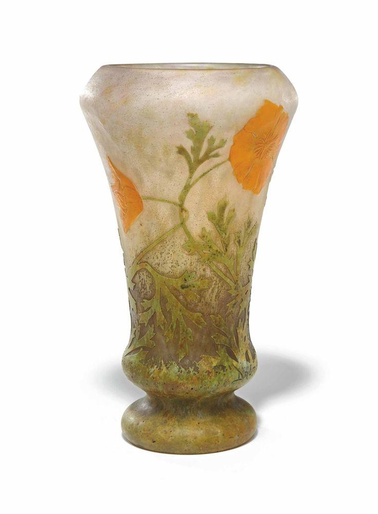 A DAUM WHEEL CARVED AND VITRIFIED CAMEO GLASS 'POPPY' VASE - CIRCA 1910