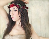Flower Crown, Amber & Jasim - MEADOW - wedding floral crown, Hair Flower, Headband Woodland, auburn, yellow, wedding hair. $42.00, via Etsy.