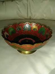 Image result for vintage aluminum bowls flower etching inside scallop edge