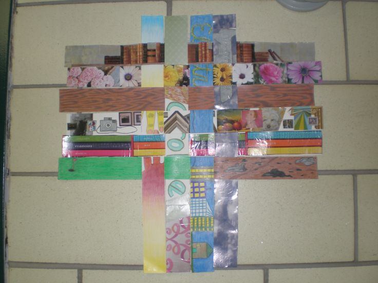 Paper weaving sample - student work Each strip represents an aspect of the student's life then the strips are woven together to make one composition