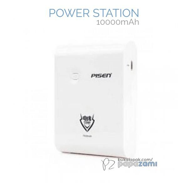 Pisen Power Station 10000mAh (Apple White)  Product Name: Power Station Brand: Pisen Type: Power Bank Weight: 260g Capacity: 10000mAh Dimension: 107 x 67 x 20mm Battery Type: Grade A Lithium-ion Battery Output: USB1: 5V==1A, USB2: 5V==2A Input: DC: 4.8V-5.4V==2A(Max)  Pisen Power Station 10000mAh * Dual USB Output(1A/2A). Charge up to 2 devices at the same time.  * High durability. Can be used up to 1000 charging cycles. * High quality Lithium-Ion battery. Delivers more power compared to…