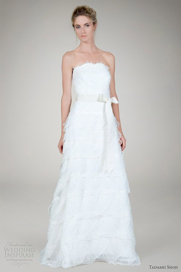 tadashi shoji fall 2012 bridal pleated tulle strapless wedding dress
