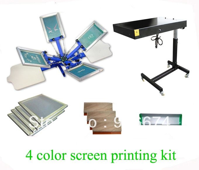 1291.05$  Watch here - http://ai1ox.worlditems.win/all/product.php?id=751432561 - FAST and FREE shipping! 4 color 2 station silk screen printing kit with flash dryer t-shirt printer stretched frame squeegee