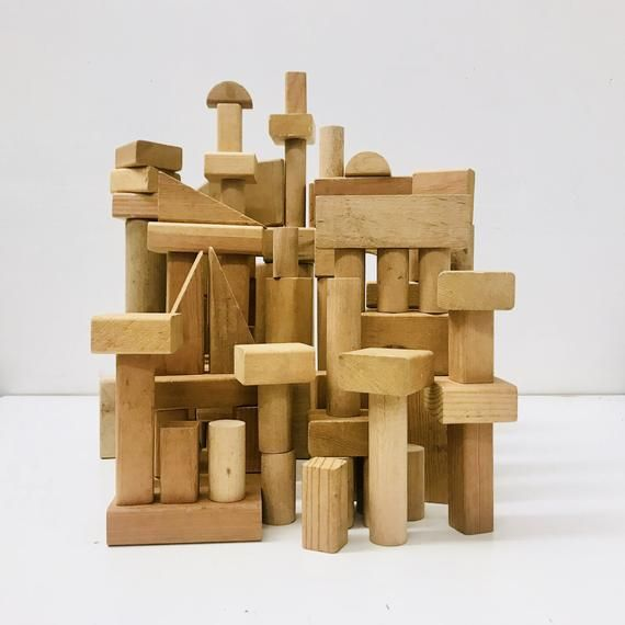 1960s Playskool Wooden Blocks Set Building Block Toys Unique