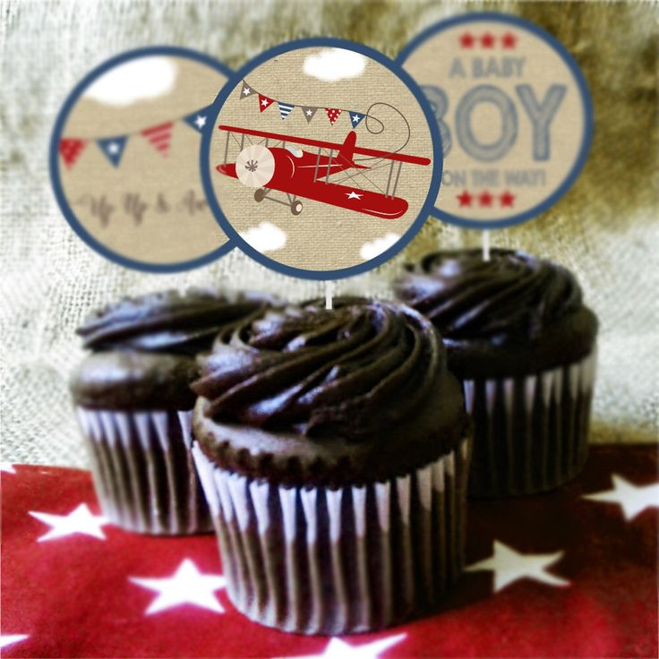 Airplane Baby Shower Cupcake Toppers and Cupcake Wrappers, Vintage Airplane, Aviator Decorations, Red Airplane, Instant Download, Printable by LittlePrintablesShop on Etsy https://www.etsy.com/listing/499552459/airplane-baby-shower-cupcake-toppers-and
