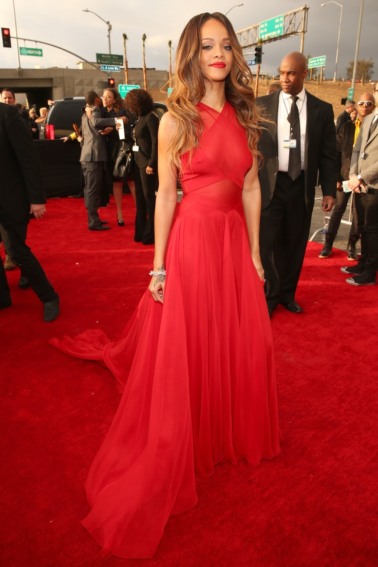 Rihanna at the 2013 Grammys | Get the details of her gorgeous gown here! ... That, is a red dress!!!