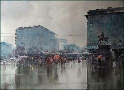 dusan-djukaric-rain-in-december-in-belgrade-watercolor-54x74-cm