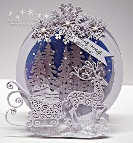 I have gone back to one of my favorite shaped cards...the snow globe.....and some of my old tattered lace dies.....          I had great fun...
