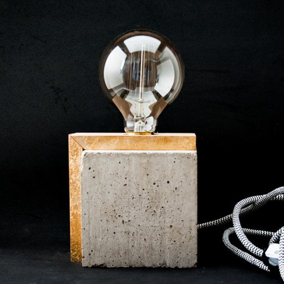 Industrial concrete table wood lamp Industrial lamp by EunaDesigns