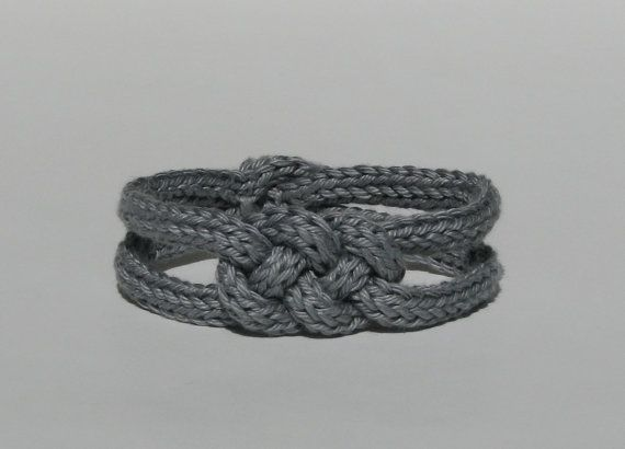 Knitted Bracelet Gray Cotton French Knitting Celtic Style Knot