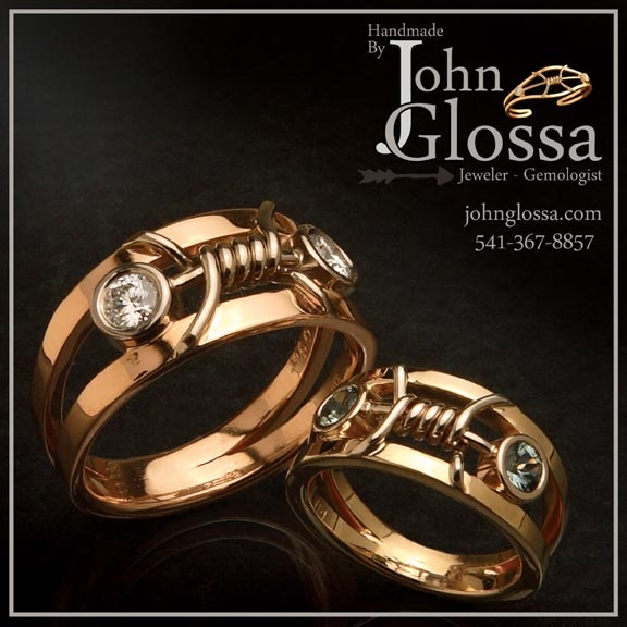 Love John Glossa's Rings with barbed wire and diamonds...
