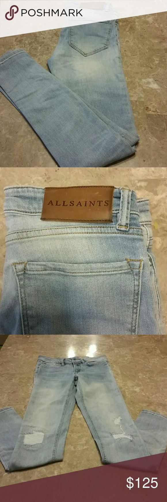 ALLSAINTS Mast Distressed Low Rise Skinny Jeans These jeans from ALLSAINTS are really cool and HARD TO FIND with distressed, scuffed, knee patches. They fit small, go one size up. ALLSAINTS   Jeans Skinny