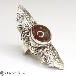 impozant inel tribal hindus, sardonix & alama argintata. India