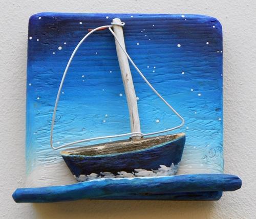 sailboat,driftwood,night,starry night