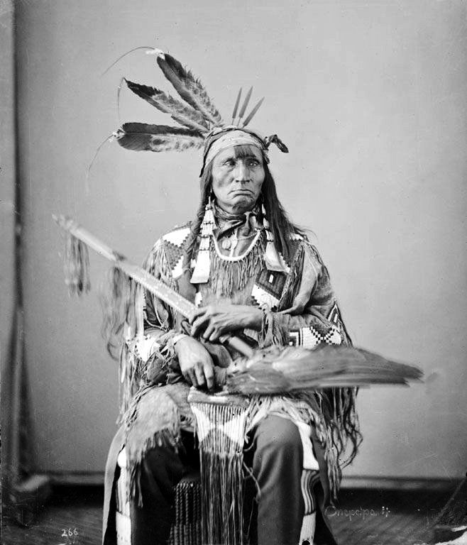"""""""Walking Shooter"""" Wah-Koo-Ta-Mon-Ih was a member of the 1872 Tribal Delegations to the Federal Government. He was a Hunkpapa Lakota Indian. Photograph ca 1872."""