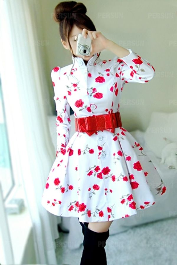 Stand Collar Rose Print Coat with Waistband [FEBK0623] - PersunMall.com