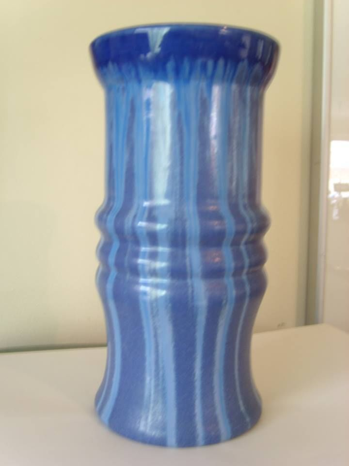 21cm x Hoffmans Pottery Melrose Ware large Vase , very rare shape.c1932-1938