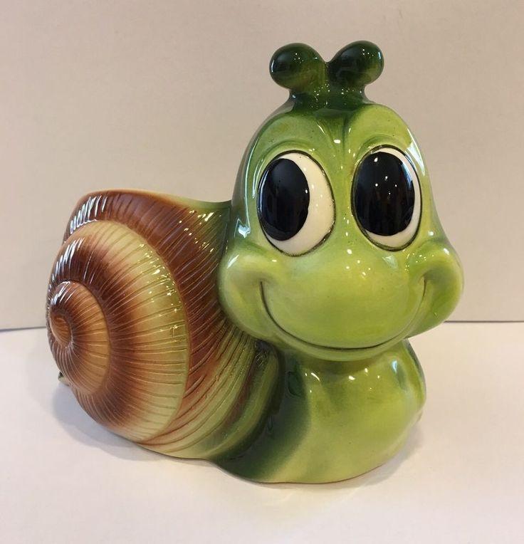 Vintage Retro Relpo Japan Snail Planter #2095 Excellent Condition Never Used
