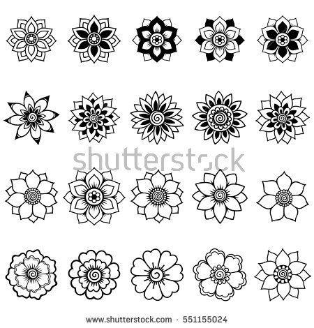 Henna tattoo flower template. Mehndi style. Set of…