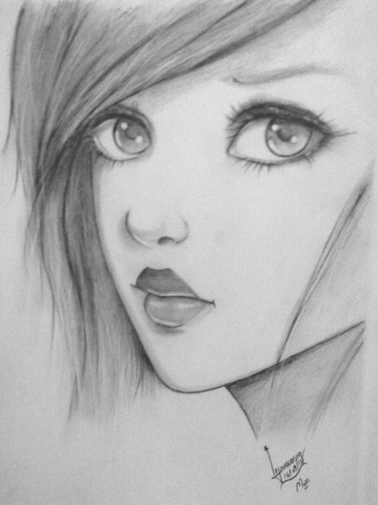 Detailed drawing of a girl paying special attention to her hair, lips and eyes.  pencil drawings - Google Search