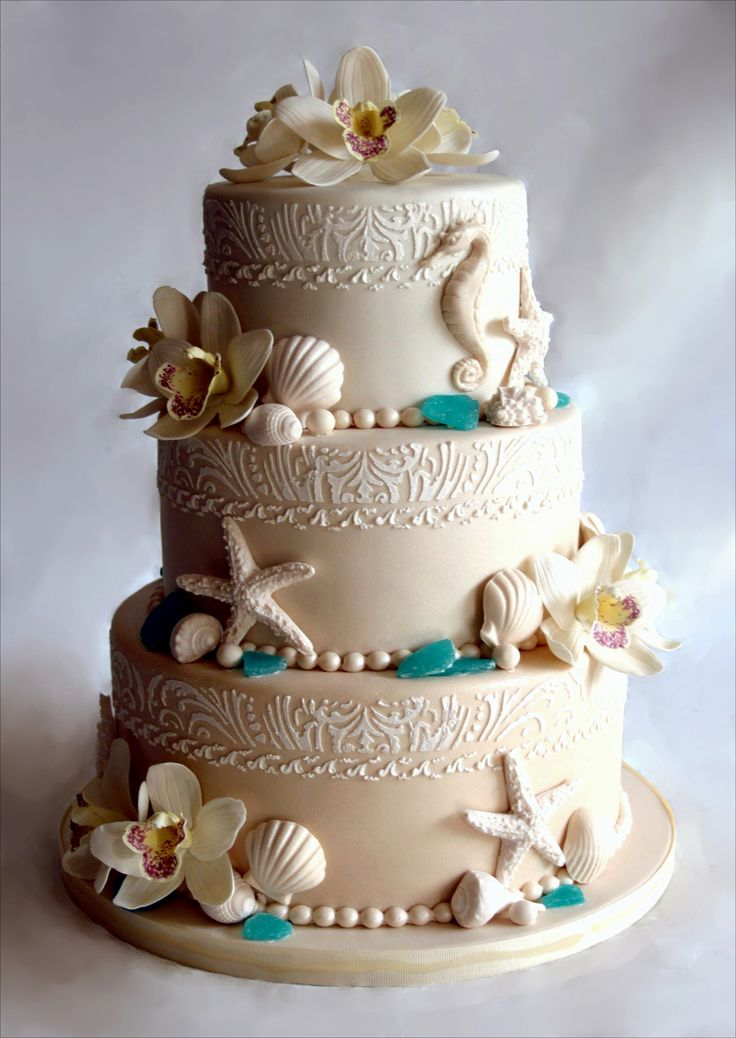Cake Topper, Three Tiers Beach Wedding Cake With Coral Ornaments Also Seahorse 243: Beautiful Beach Wedding Cake Perfected with Unique Decorations