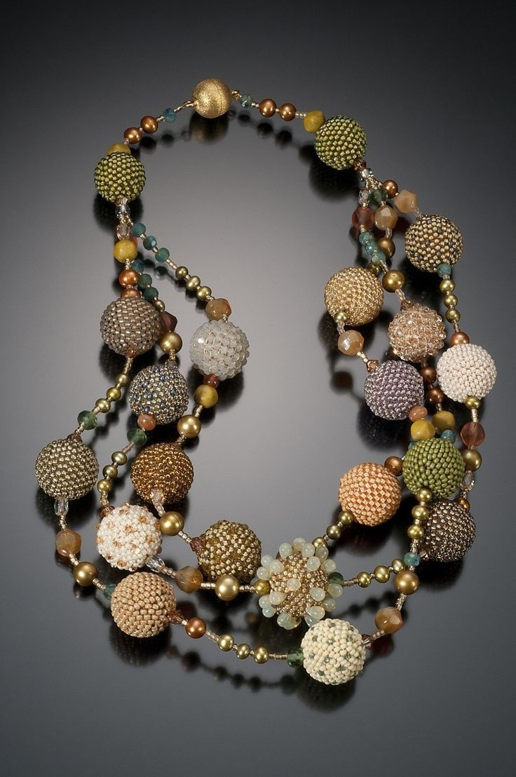 Multi Strand Beaded Bead Necklace  Bead Crochet With Strung Beads & Pearls   By Lynne