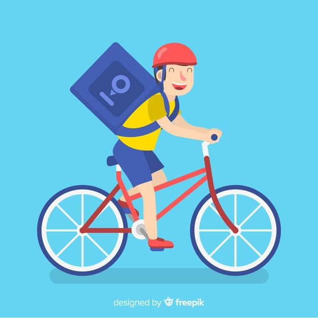 Download Flat Delivery Boy On Bike Background For Free Vector