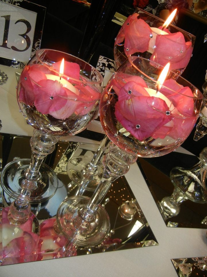 Blinged Out Floating Candle Centerpieces Love