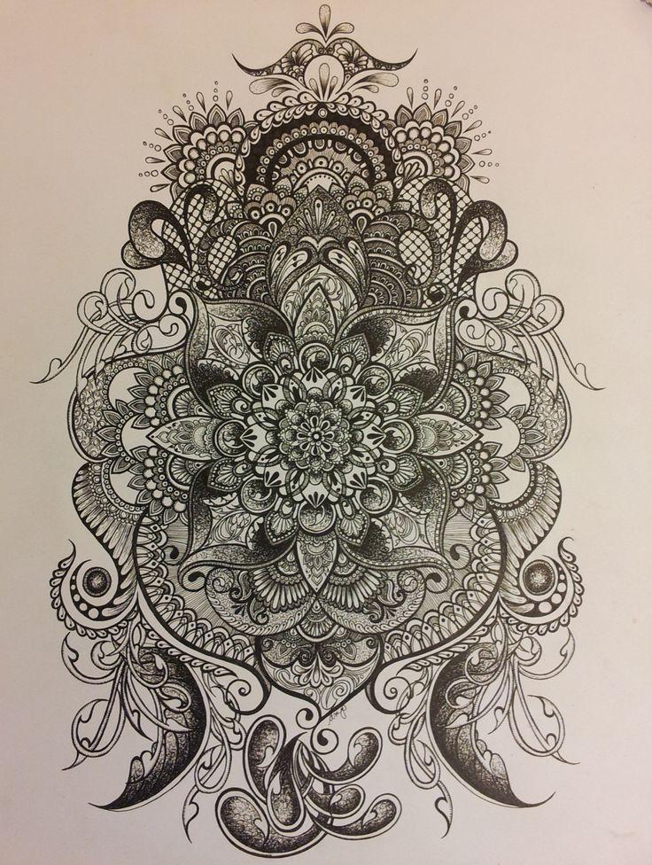 """Expansion"" pen/ ink mandala drawing"