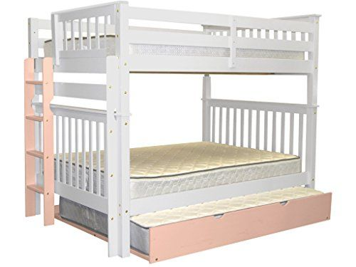 Contemporary Bedz King Mission Style Bunk Bed with End Ladder and Twin Trundle Full over Full White You can additional details at the image link Trending - Elegant solid bunk beds Photo