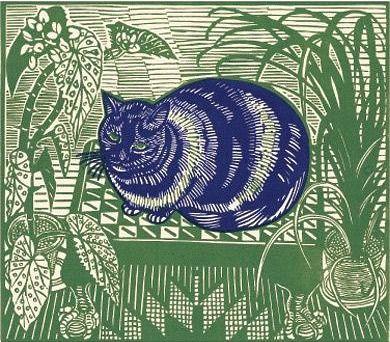 Richard Bawden, Blue CatCat Art, Animal Art, Catart Etcatera, Blue Cat, Arty Cat, Richard Bawden, Bawden Blue, Artsy Cat, Prints Linocut
