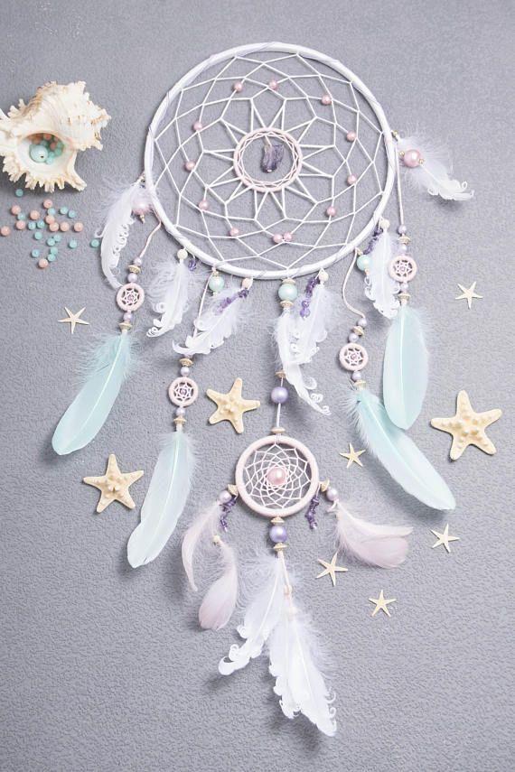 Grand Dream Catcher Boho cadeau pour elle, Boho vicié rose menthe Dreamcatchers Talisman améthyste pierre mur décoration de mariage tenture murale Boho