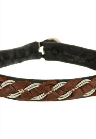 Lapland Sami Leather Bracelet-Pewter and Silver Braid-AntlerLapland Sami Leather Bracelet-Pewter and...