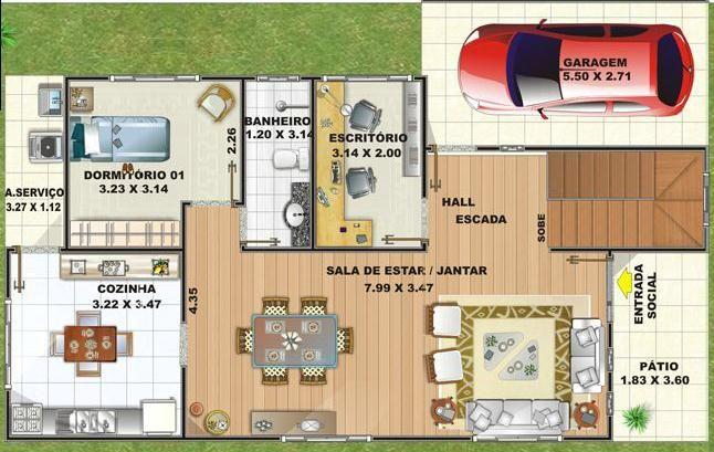 0025 plano de casa de 154 m2 dos pisos y 3 dormitoriosel for Plano habitacion online