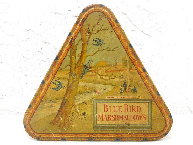 "Vintage Antique 1920 Blue Bird Marshmallows Triangular Triangle Tin Box 7 1/4"", Harry Horne Company Advertisement, Forest Campfire Scene"
