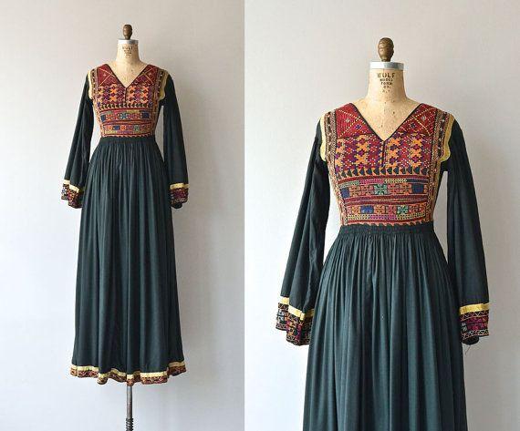 Afghan Kuchi dress • vintage 1970s tribal dress • 70s ethnic maxi dress