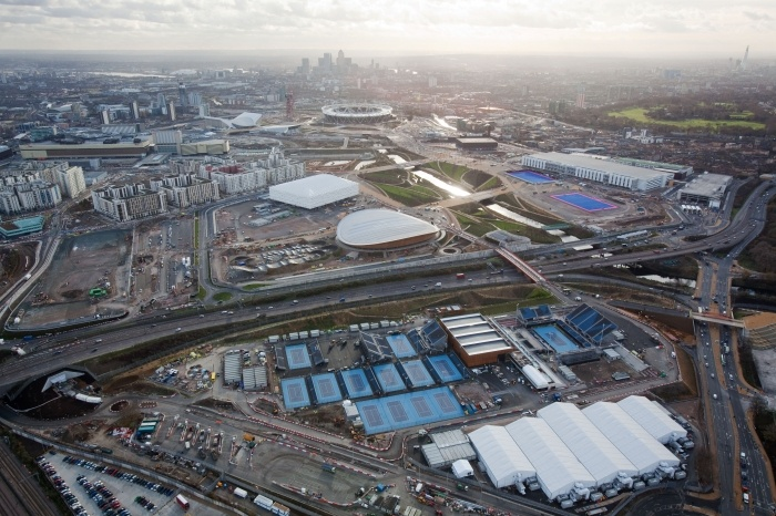 Olympic Park showing Eton Manor in the foreground  20 Dec 2011  Aerial view looking south with Eton Manor in the foreground