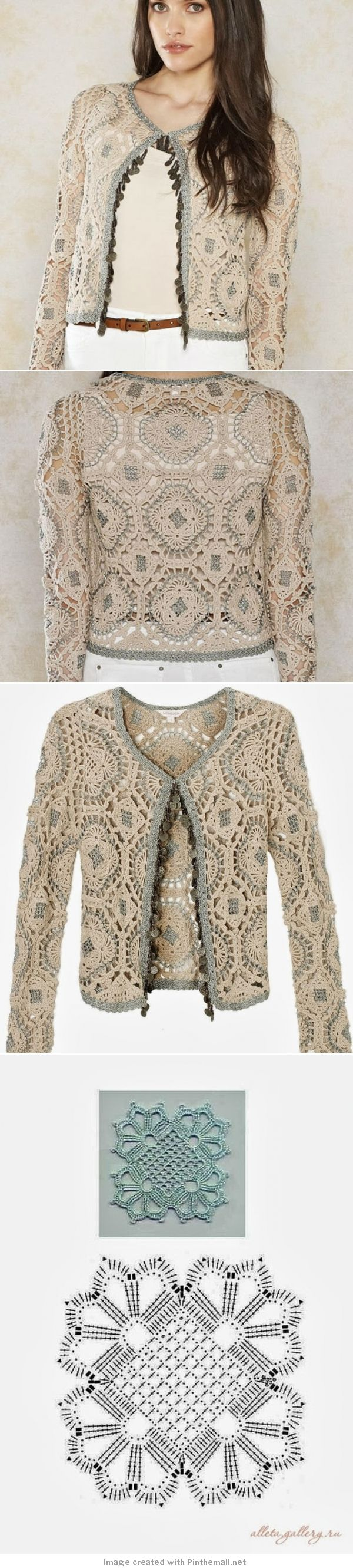 Crochet motif jacket.      http://crochetemoda.blogspot.com/2013/10/casaqueto-de-crochet_24.html @ Af's Collection