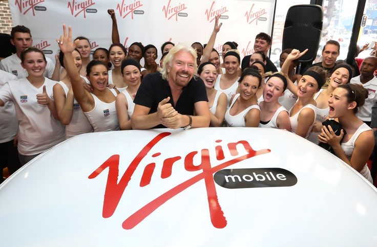 Sir Richard Branson takes a pic with the girls