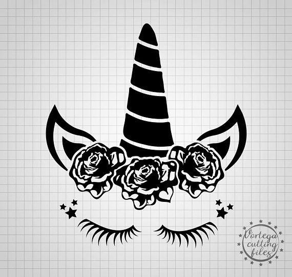Roses. Floral cartoon unicorn  SVG cutting file Vinyl cutting Cricut or sillouhette