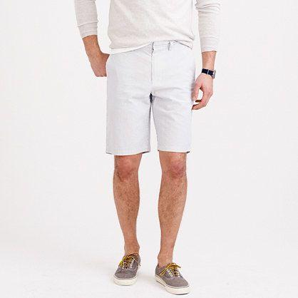 $34, Grey Seersucker Shorts: J.Crew 105 Club Short In Seersucker. Sold by J.Crew. Click for more info: https://lookastic.com/men/shop_items/251192/redirect