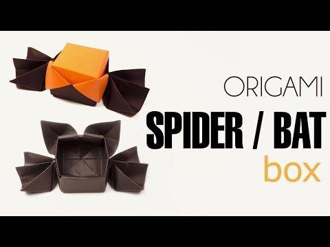 Origami Halloween Box Spider or Bat Lid - YouTube