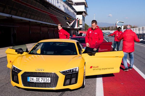Marc-Andre Ter Stegen and Ivan Rakitic of FC Barcelona enjoy the Audi Driving Experience during the Audi Car handover to the players of FC Barcelona on November 30, 2017 at Circuit de Barcelona-Catalunya in Montmelo, near Barcelona, Spain.
