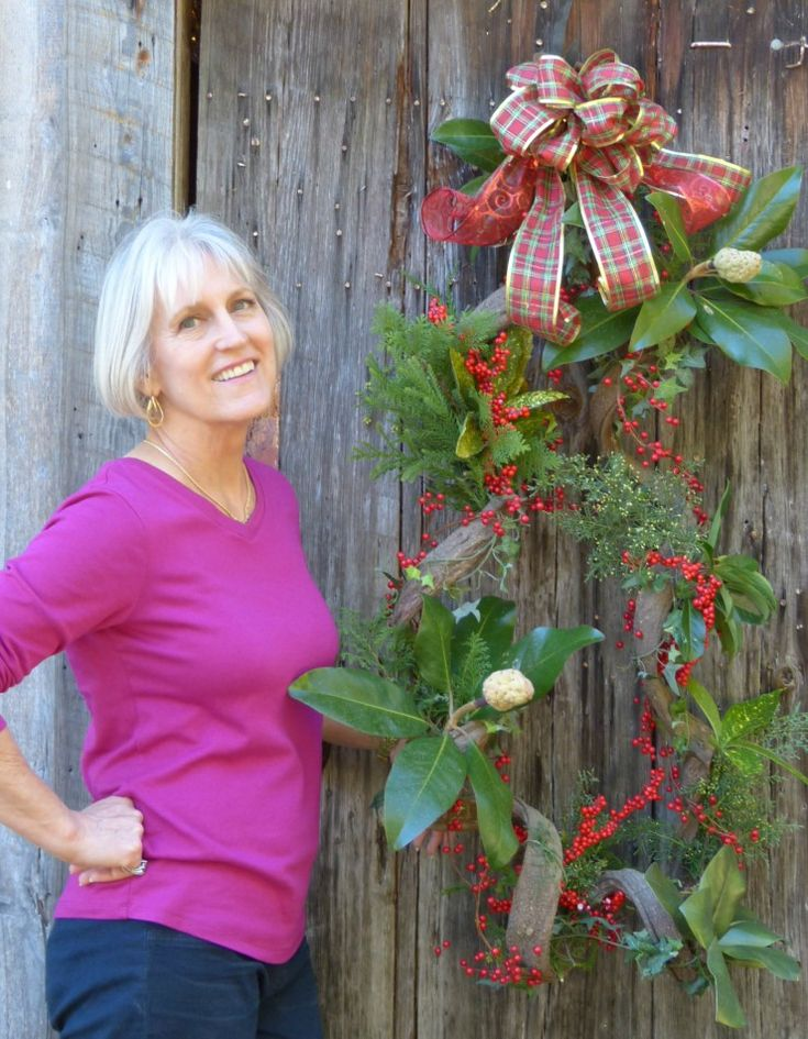 As the holiday season progresses, you can change out wilting evergreens to keep your Wisteria Vine Wreath fresh through New Year's Day and into the winter!