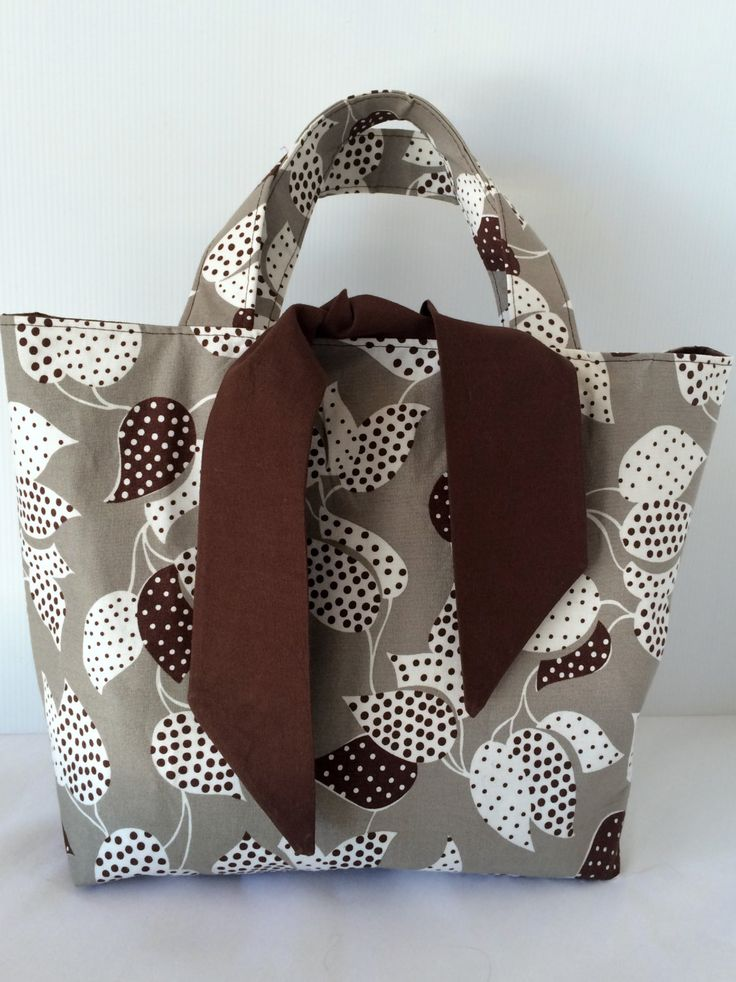 fabric bag, tote bag, brown cream taupe tote, medium tote, handmade bag by SistersKnot on Etsy