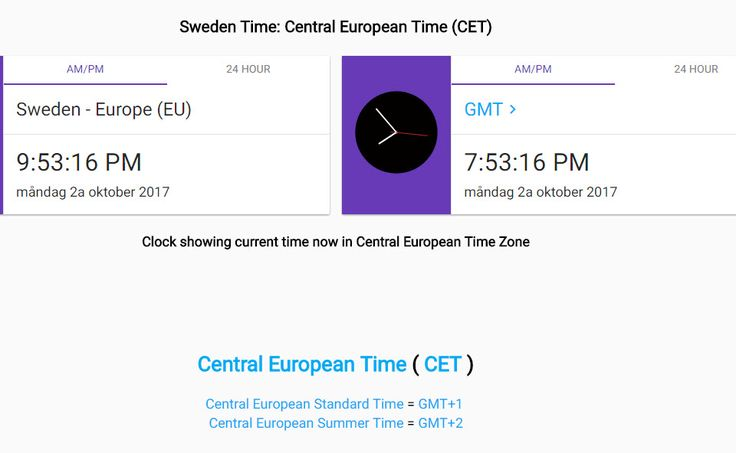 #klockan - Central European Time (CET) på sommaren GMT+2, vinter GMT+1 https://greenwichmeantime.com/time-zone/europe/european-union/sweden/